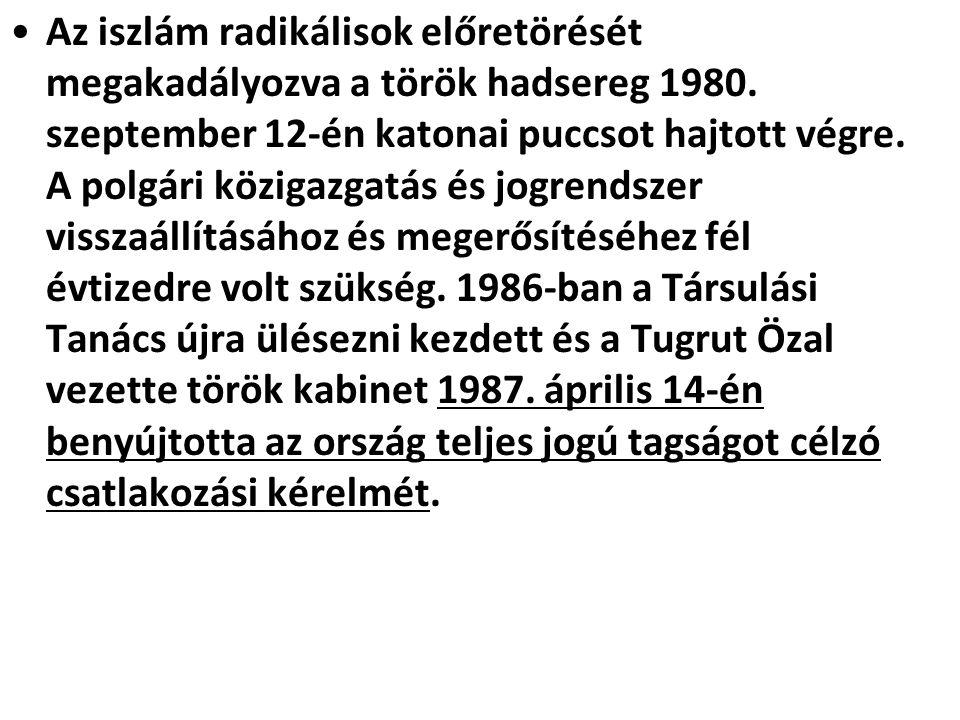 Az iszlám radikálisok előretörését megakadályozva a török hadsereg 1980. szeptember 12-én katonai puccsot hajtott végre. A polgári közigazgatás és jog