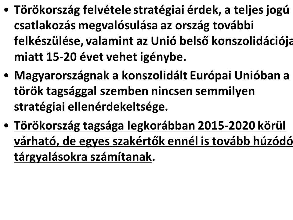 Törökország felvétele stratégiai érdek, a teljes jogú csatlakozás megvalósulása az ország további felkészülése, valamint az Unió belső konszolidációja miatt 15-20 évet vehet igénybe.