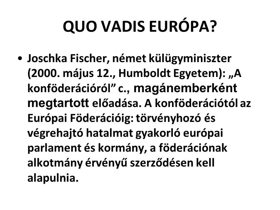 """QUO VADIS EURÓPA? Joschka Fischer, német külügyminiszter (2000. május 12., Humboldt Egyetem): """"A konföderációról"""" c., magánemberként megtartott előadá"""