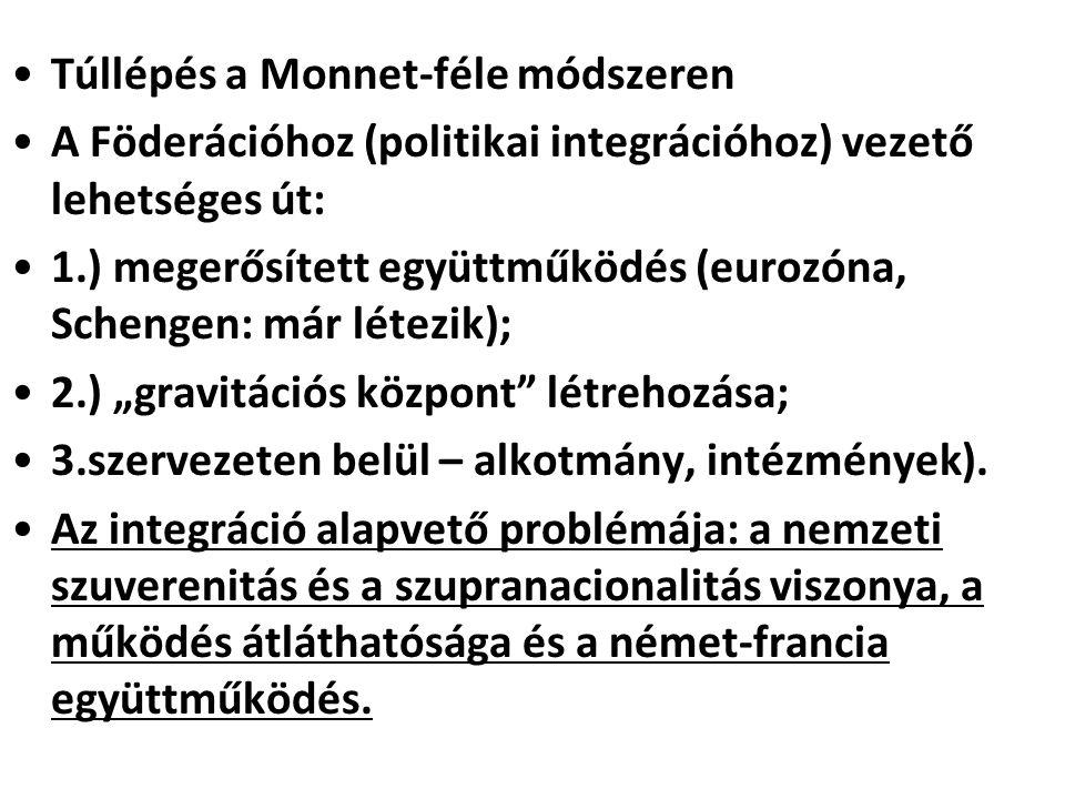 """Túllépés a Monnet-féle módszeren A Föderációhoz (politikai integrációhoz) vezető lehetséges út: 1.) megerősített együttműködés (eurozóna, Schengen: már létezik); 2.) """"gravitációs központ létrehozása; 3.szervezeten belül – alkotmány, intézmények)."""