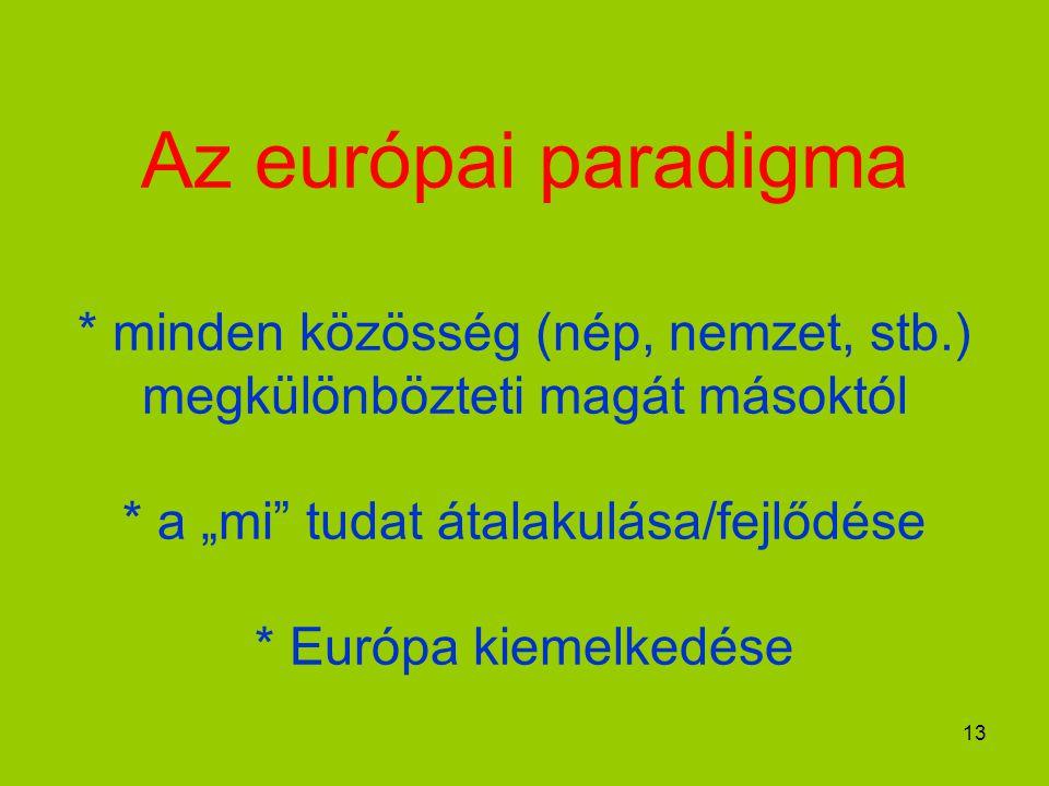 """13 Az európai paradigma * minden közösség (nép, nemzet, stb.) megkülönbözteti magát másoktól * a """"mi tudat átalakulása/fejlődése * Európa kiemelkedése"""