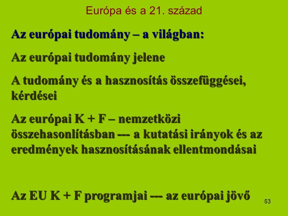 Európa és a 21. század 53 Az európai tudomány – a világban: Az európai tudomány jelene A tudomány és a hasznosítás összefüggései, kérdései Az európai