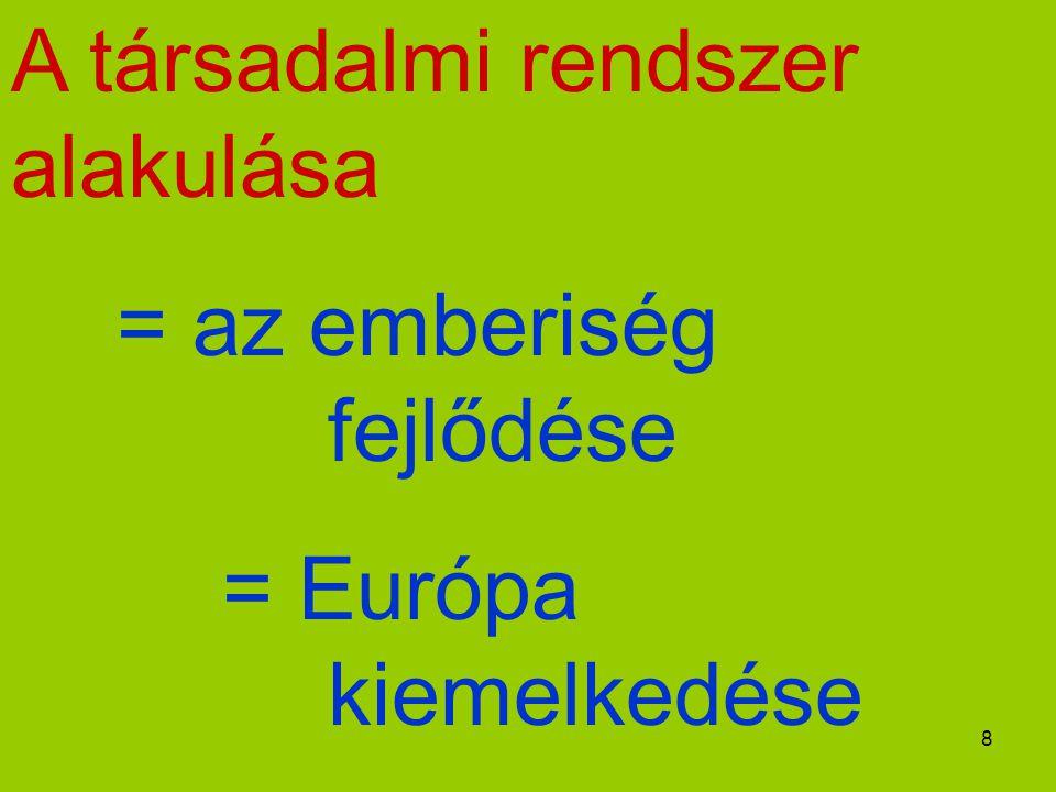 8 A társadalmi rendszer alakulása = az emberiség fejlődése = Európa kiemelkedése