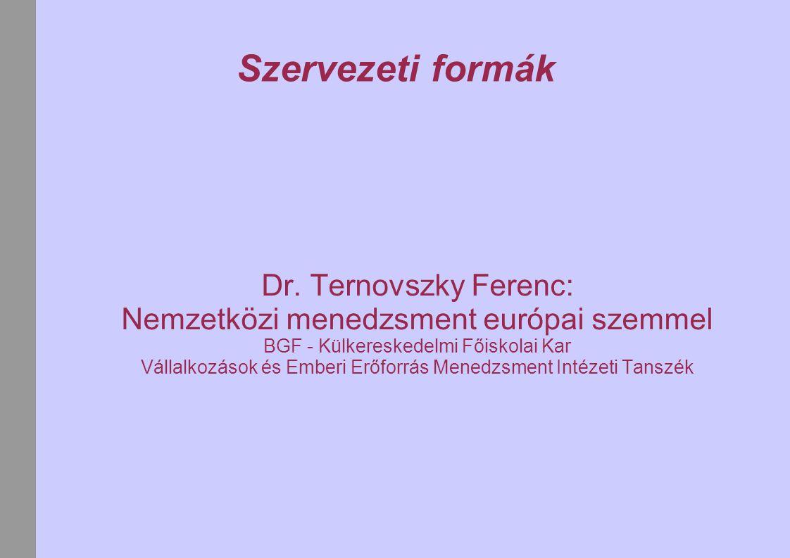 Szervezeti formák Dr. Ternovszky Ferenc: Nemzetközi menedzsment európai szemmel BGF - Külkereskedelmi Főiskolai Kar Vállalkozások és Emberi Erőforrás