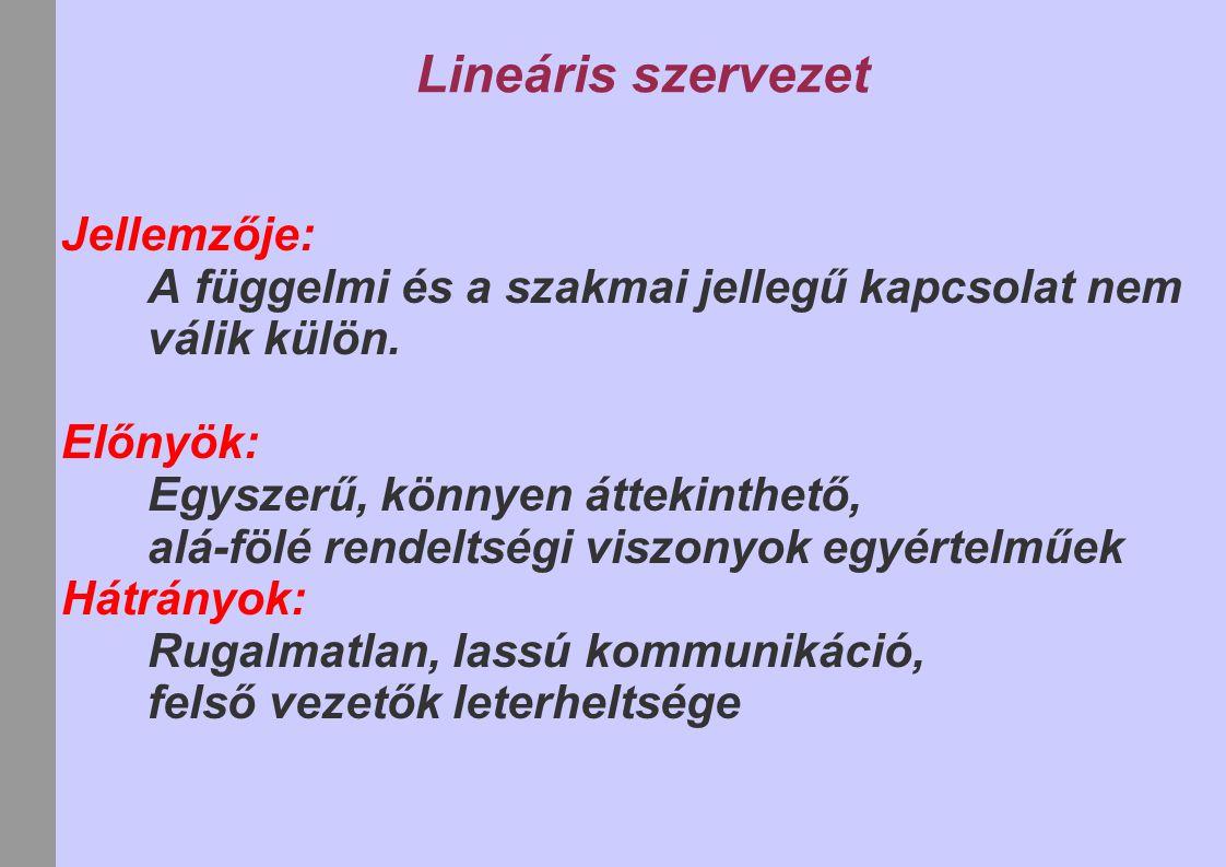 Lineáris szervezet Jellemzője: A függelmi és a szakmai jellegű kapcsolat nem válik külön. Előnyök: Egyszerű, könnyen áttekinthető, alá-fölé rendeltség
