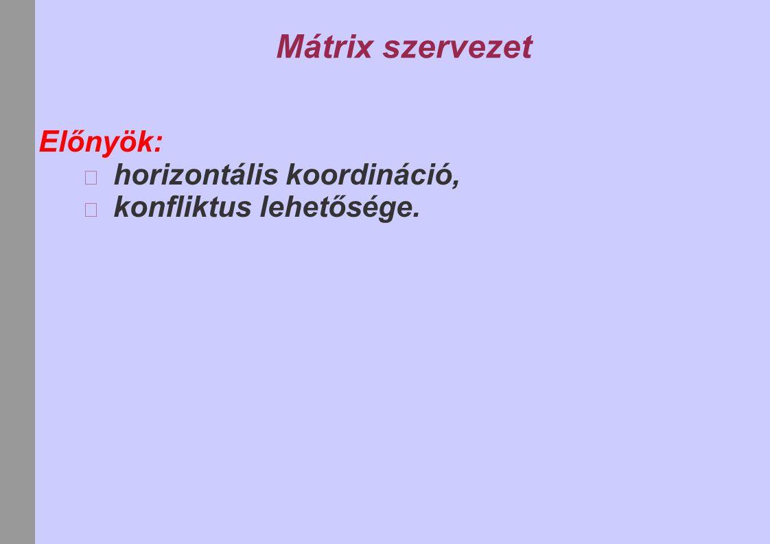 Mátrix szervezet Előnyök: horizontális koordináció, konfliktus lehetősége.