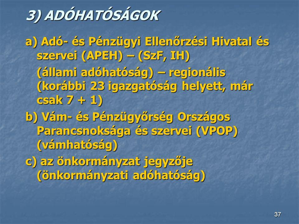 37 3) ADÓHATÓSÁGOK a) Adó- és Pénzügyi Ellenőrzési Hivatal és szervei (APEH) – (SzF, IH) (állami adóhatóság) – regionális (korábbi 23 igazgatóság hely