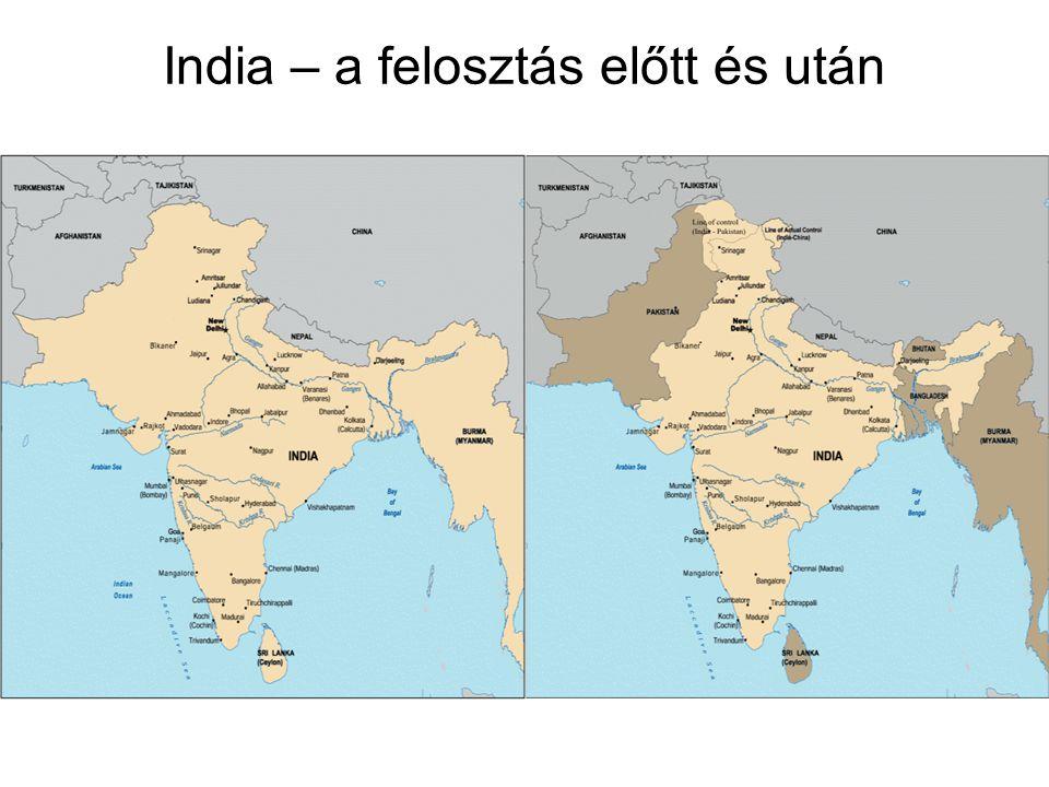 India – a felosztás előtt és után
