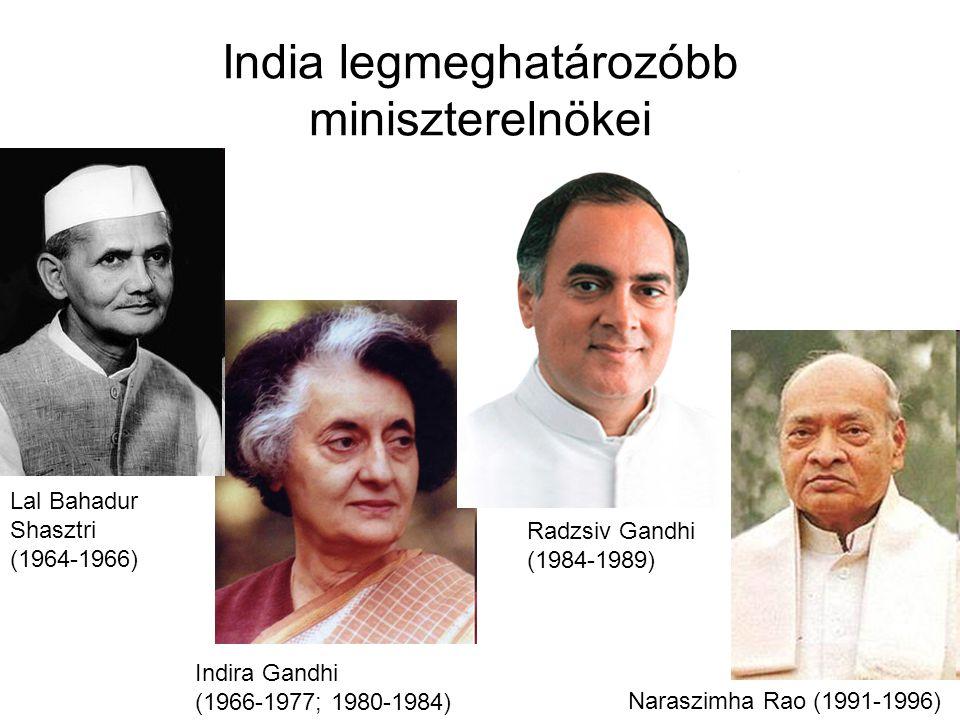 Naraszimha Rao (1991-1996) Indira Gandhi (1966-1977; 1980-1984) Radzsiv Gandhi (1984-1989) India legmeghatározóbb miniszterelnökei Lal Bahadur Shasztri (1964-1966)