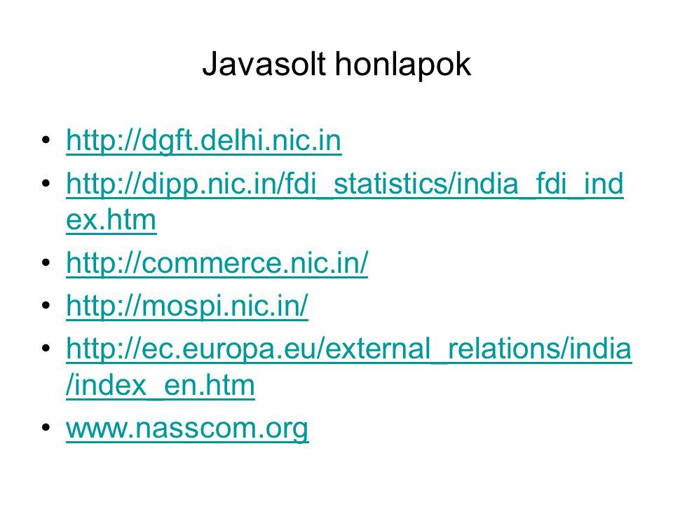 Javasolt honlapok http://dgft.delhi.nic.in http://dipp.nic.in/fdi_statistics/india_fdi_ind ex.htmhttp://dipp.nic.in/fdi_statistics/india_fdi_ind ex.htm http://commerce.nic.in/ http://mospi.nic.in/ http://ec.europa.eu/external_relations/india /index_en.htmhttp://ec.europa.eu/external_relations/india /index_en.htm www.nasscom.org