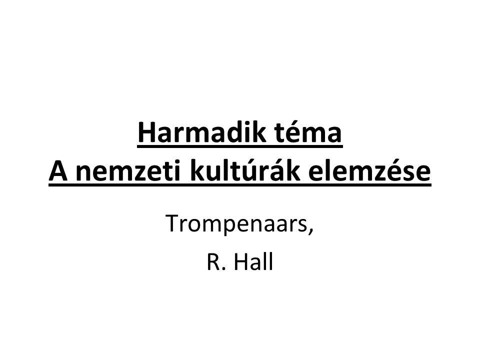 Harmadik téma A nemzeti kultúrák elemzése Trompenaars, R. Hall