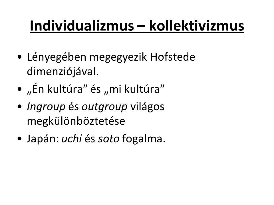 Individualizmus – kollektivizmus Lényegében megegyezik Hofstede dimenziójával.