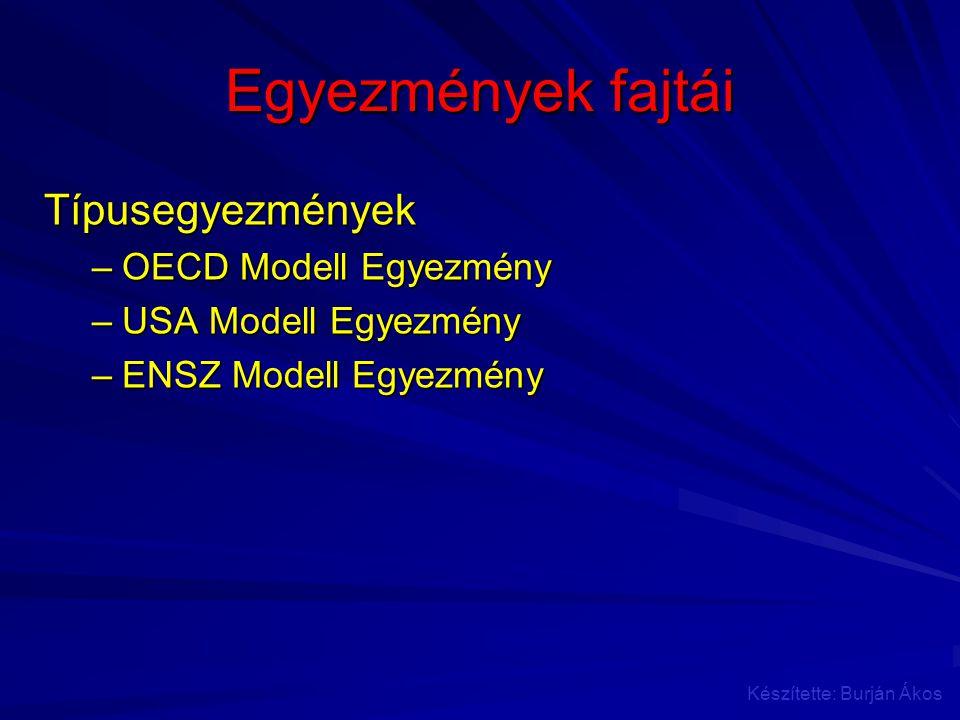 Egyezmények fajtái Típusegyezmények –OECD Modell Egyezmény –USA Modell Egyezmény –ENSZ Modell Egyezmény Készítette: Burján Ákos