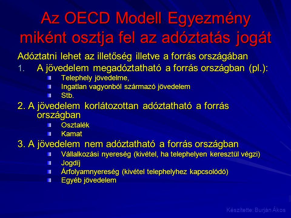 Az OECD Modell Egyezmény miként osztja fel az adóztatás jogát Adóztatni lehet az illetőség illetve a forrás országában 1. A jövedelem megadóztatható a