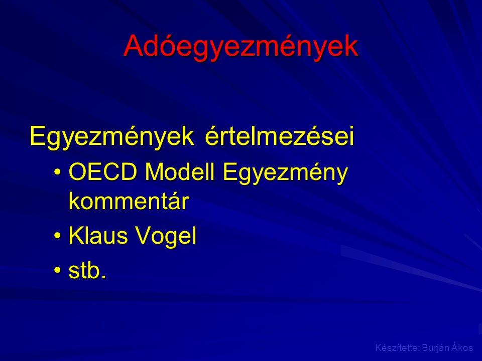 Adóegyezmények Egyezmények értelmezései OECD Modell Egyezmény kommentárOECD Modell Egyezmény kommentár Klaus VogelKlaus Vogel stb.stb. Készítette: Bur