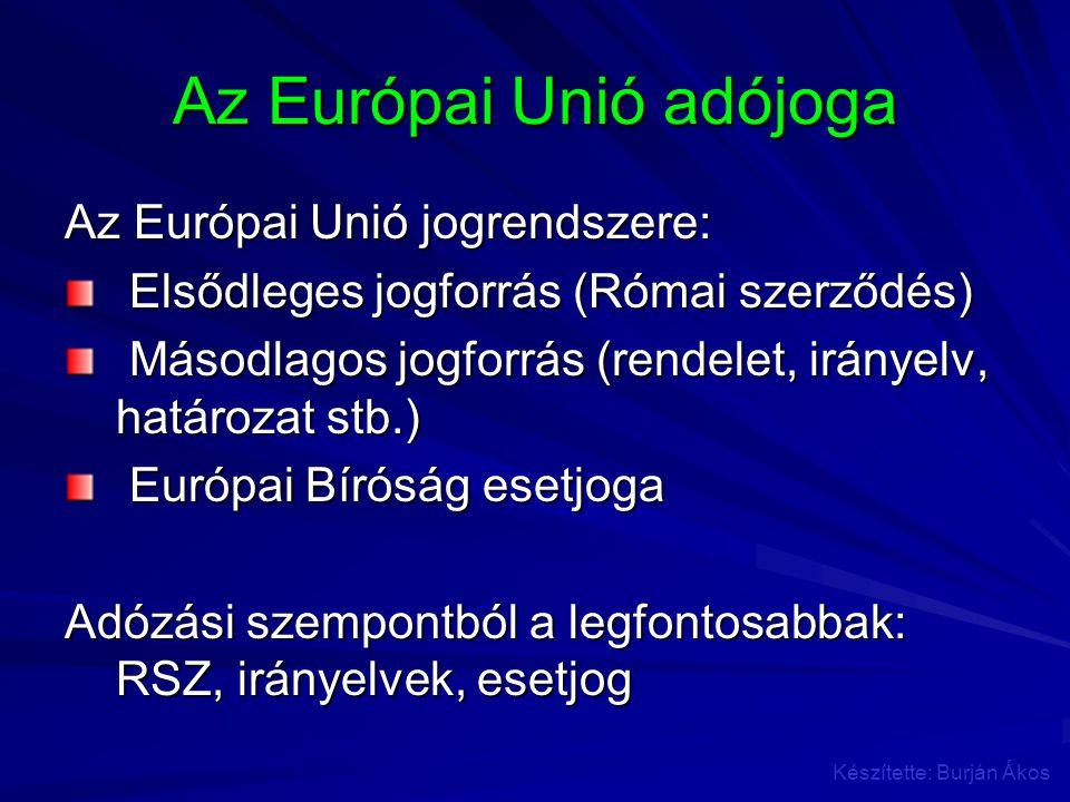 Az Európai Unió adójoga Az Európai Unió jogrendszere: Elsődleges jogforrás (Római szerződés) Elsődleges jogforrás (Római szerződés) Másodlagos jogforr