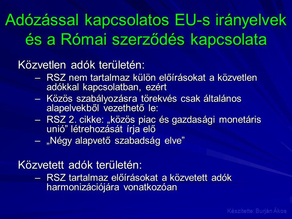 Adózással kapcsolatos EU-s irányelvek és a Római szerződés kapcsolata Közvetlen adók területén: –RSZ nem tartalmaz külön előírásokat a közvetlen adókk