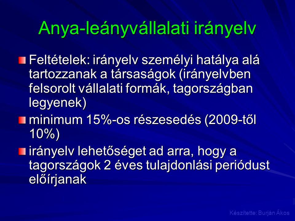 Anya-leányvállalati irányelv Feltételek: irányelv személyi hatálya alá tartozzanak a társaságok (irányelvben felsorolt vállalati formák, tagországban