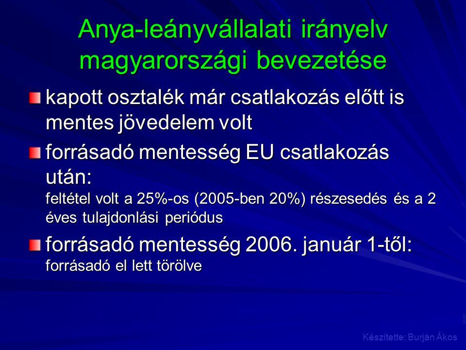 Anya-leányvállalati irányelv magyarországi bevezetése kapott osztalék már csatlakozás előtt is mentes jövedelem volt forrásadó mentesség EU csatlakozá