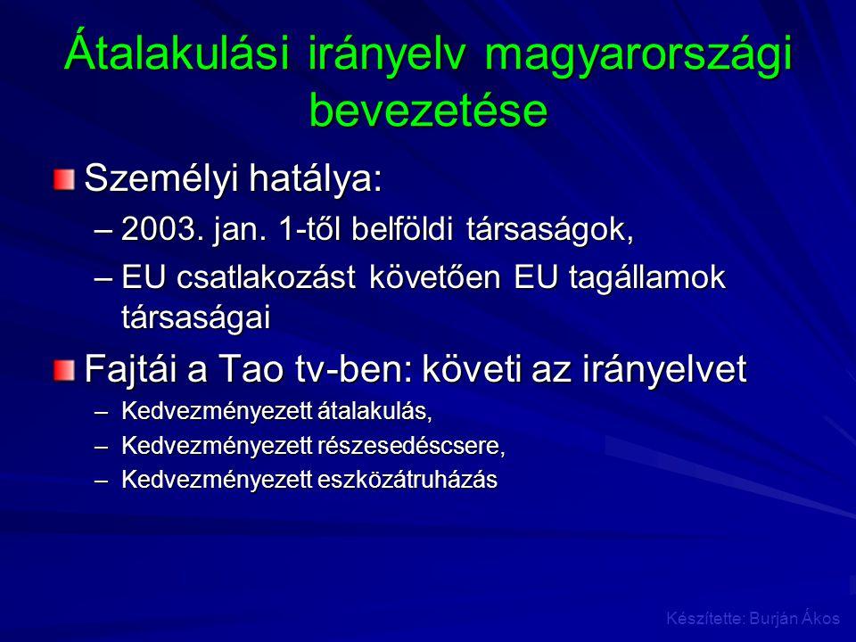 Átalakulási irányelv magyarországi bevezetése Személyi hatálya: –2003. jan. 1-től belföldi társaságok, –EU csatlakozást követően EU tagállamok társasá