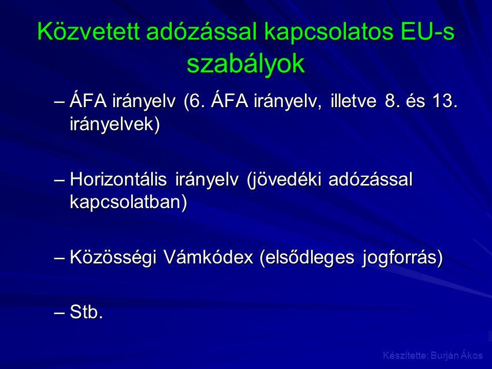 Közvetett adózással kapcsolatos EU-s szabályok –ÁFA irányelv (6. ÁFA irányelv, illetve 8. és 13. irányelvek) –Horizontális irányelv (jövedéki adózássa