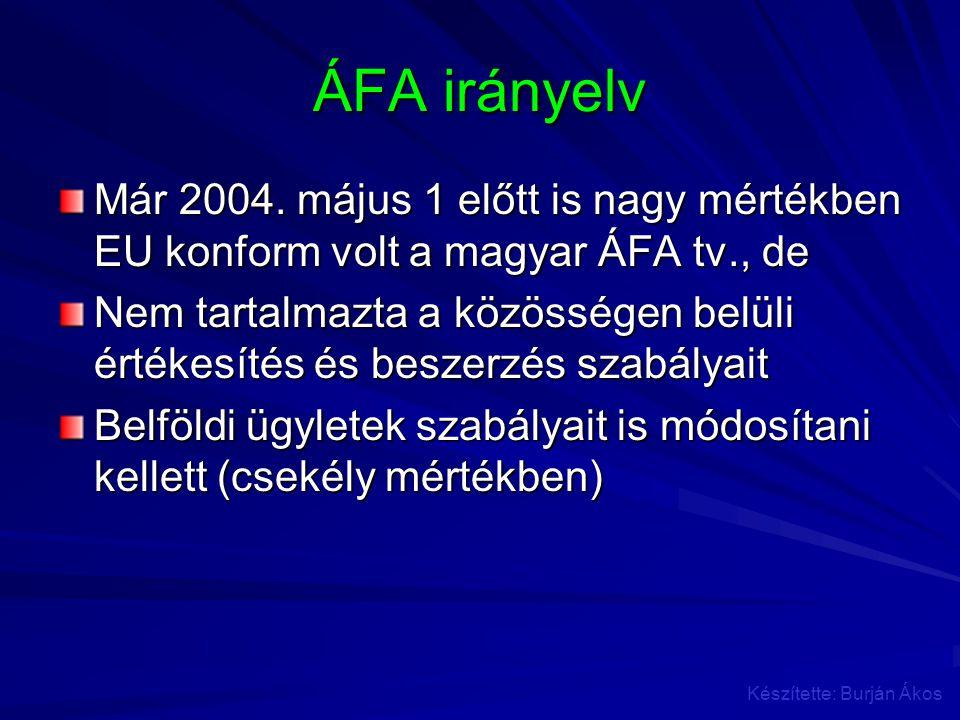 ÁFA irányelv Már 2004. május 1 előtt is nagy mértékben EU konform volt a magyar ÁFA tv., de Nem tartalmazta a közösségen belüli értékesítés és beszerz