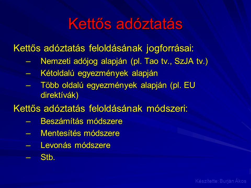 Kettős adóztatás Kettős adóztatás feloldásának jogforrásai: –Nemzeti adójog alapján (pl. Tao tv., SzJA tv.) –Kétoldalú egyezmények alapján –Több oldal