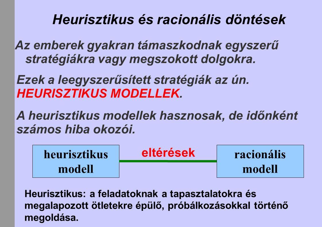Heurisztikus és racionális döntések Az emberek gyakran támaszkodnak egyszerű stratégiákra vagy megszokott dolgokra.