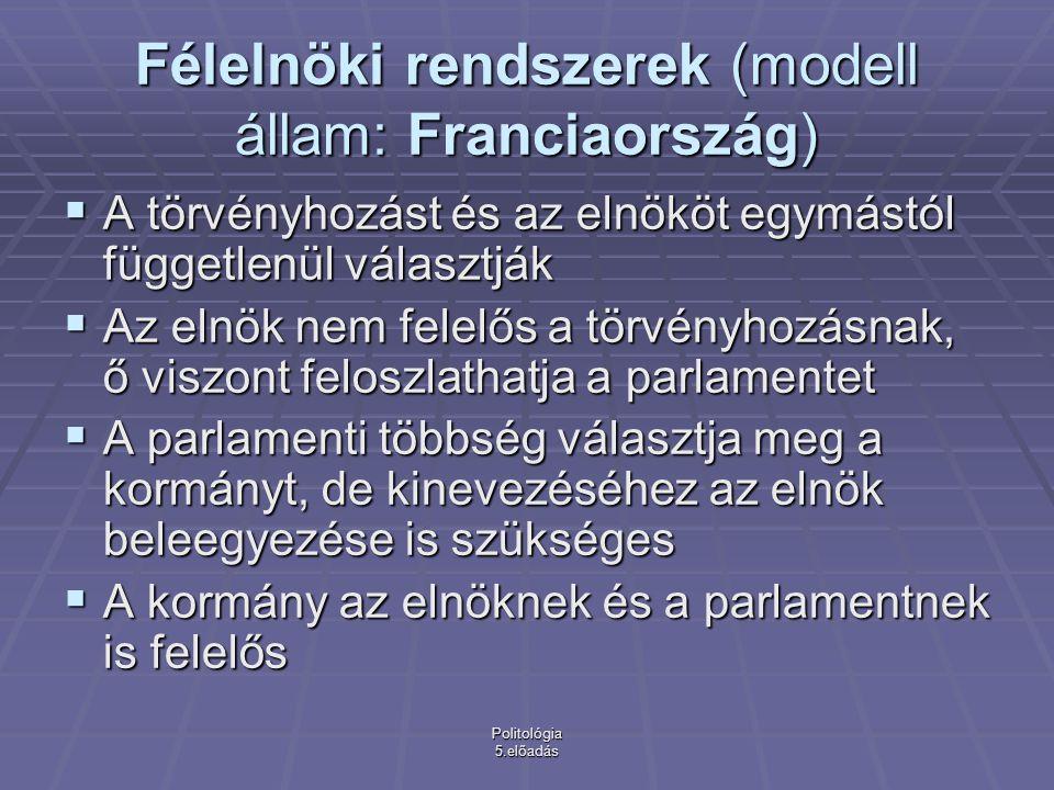 Politológia 5.előadás Félelnöki rendszerek (modell állam: Franciaország)  A törvényhozást és az elnököt egymástól függetlenül választják  Az elnök nem felelős a törvényhozásnak, ő viszont feloszlathatja a parlamentet  A parlamenti többség választja meg a kormányt, de kinevezéséhez az elnök beleegyezése is szükséges  A kormány az elnöknek és a parlamentnek is felelős