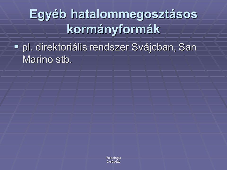Politológia 5.előadás Egyéb hatalommegosztásos kormányformák  pl.