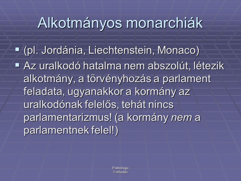 Politológia 5.előadás Alkotmányos monarchiák  (pl.