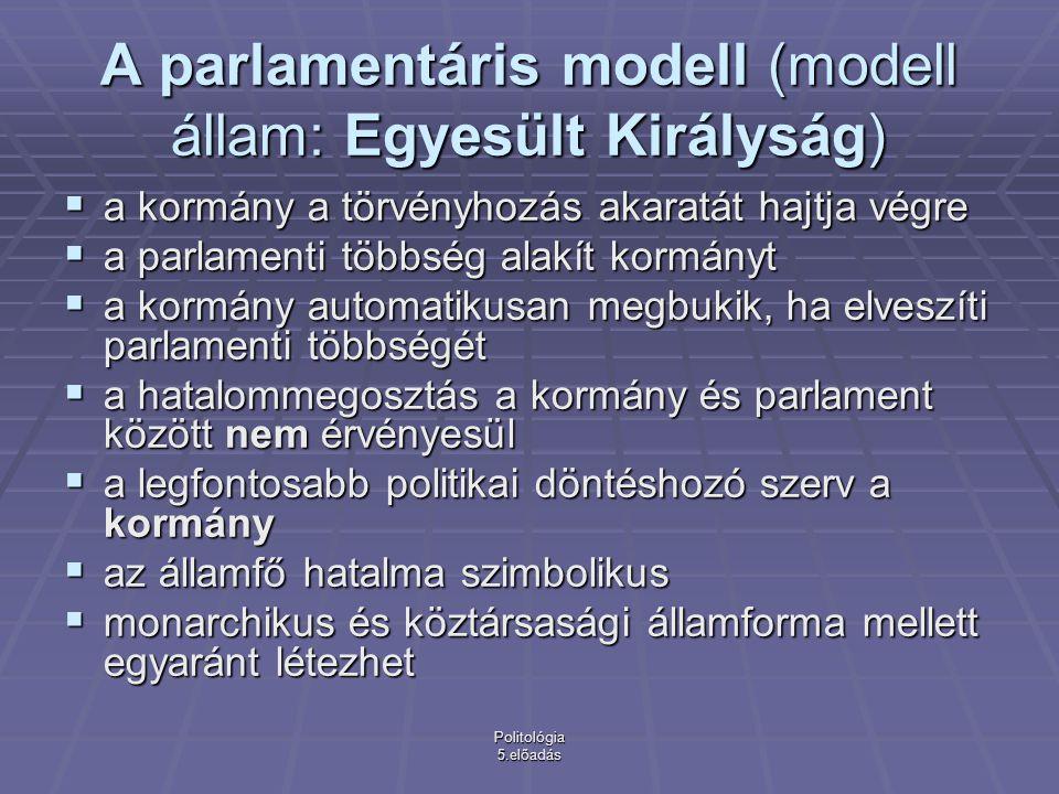 Politológia 5.előadás Altípusa a parlamentáris rendszereknek: az ún.