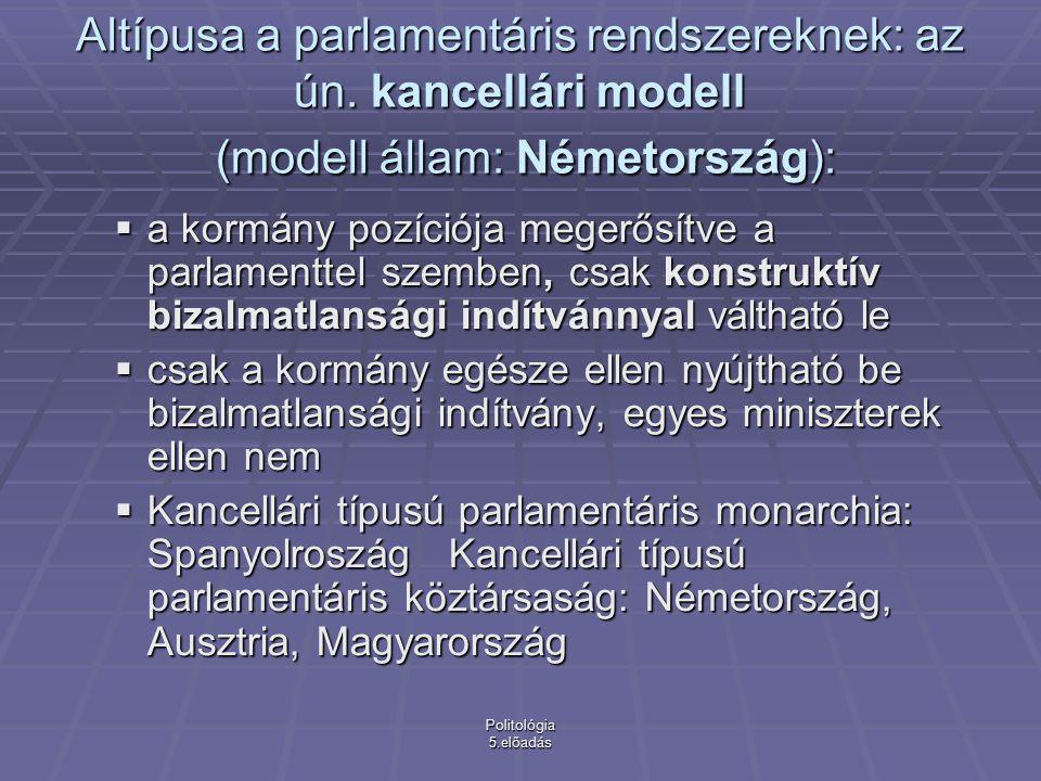 Politológia 5.előadás Prezidenciális rendszerek (modell állam: Amerikai Egyesült Államok)  A törvényhozást és az elnököt egymástól függetlenül választják  Az elnök nem felelős a törvényhozásnak, de ő sem oszlathatja fel a parlamentet  Az elnök egyszemélyben képviseli a végrehajtó hatalmat, kinevezhet minisztereket, de kormány mint testület nem létezik  A legfontosabb politikai döntéshozó az elnök  Ha a kormányforma prezidenciális az államforma csak köztársasági lehet!