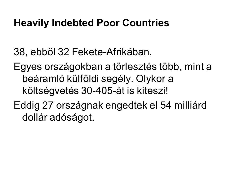 Heavily Indebted Poor Countries 38, ebből 32 Fekete-Afrikában. Egyes országokban a törlesztés több, mint a beáramló külföldi segély. Olykor a költségv