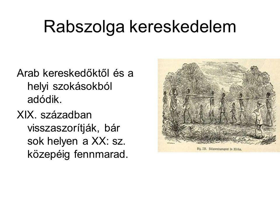 Rabszolga kereskedelem Arab kereskedőktől és a helyi szokásokból adódik. XIX. században visszaszorítják, bár sok helyen a XX: sz. közepéig fennmarad.