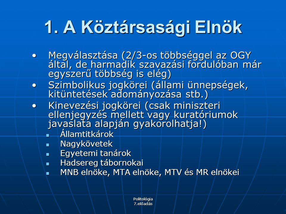 Politológia 7.előadás 1. A Köztársasági Elnök Megválasztása (2/3-os többséggel az OGY által, de harmadik szavazási fordulóban már egyszerű többség is