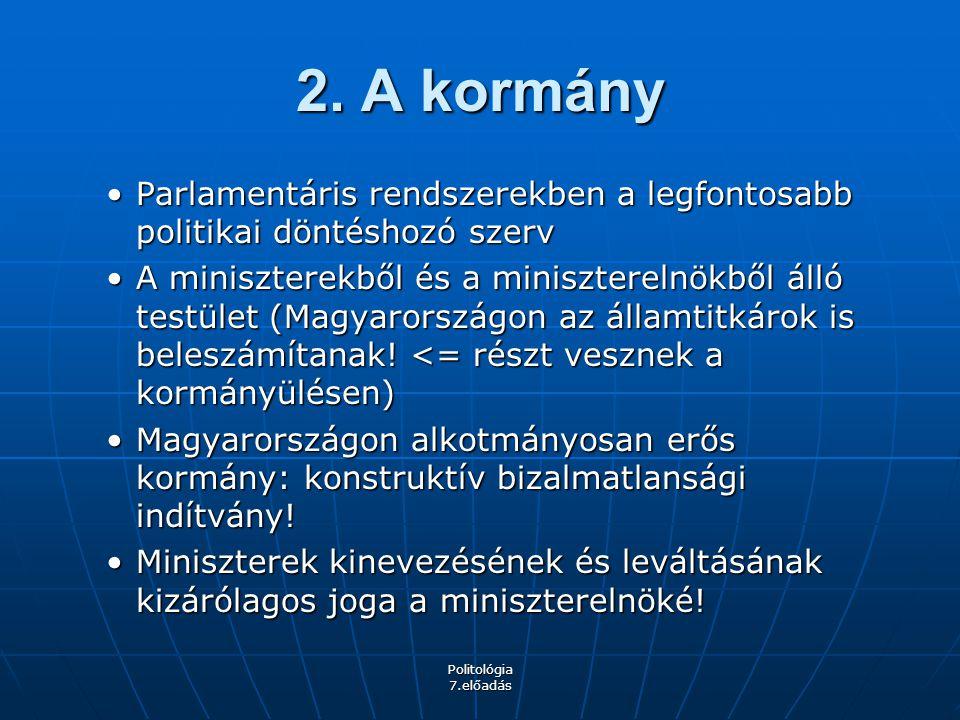 Politológia 7.előadás Parlamenti ciklusMiniszterelnökKormánypárt(ok)Ellenzék 1990-1994 Antall József (1990-1993 dec.) meghal Boross Péter MDF-KDNP-FKgP koalíció, majd MDF-KDNP kisebbségi SZDSZ, Fidesz, MSZP 1994-1998Horn Gyula MSZP-SZDSZ koalíció (kétharmados többség) MDF, FKgP, KDNP, Fidesz 1998-2002Orbán Viktor FIDESZ-FKgP-MDF koalíció, majd FIDESZ- MDF kisebbségi MSZP, SZDSZ, MIÉP 2002-2006 Medgyessy Péter (2002- 2004) lemond Gyurcsány Ferenc MSZP-SZDSZ koalícióFidesz, MDF 2006-2010 Gyurcsány Ferenc (2006- 2009 márc.) konstruktív biz.