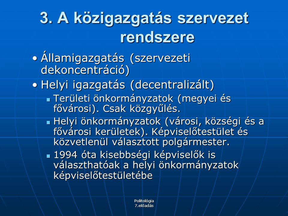 Politológia 7.előadás 3. A közigazgatás szervezet rendszere Államigazgatás (szervezeti dekoncentráció)Államigazgatás (szervezeti dekoncentráció) Helyi