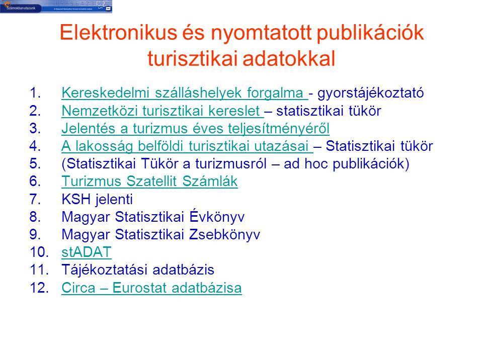 Elektronikus és nyomtatott publikációk turisztikai adatokkal 1.Kereskedelmi szálláshelyek forgalma - gyorstájékoztatóKereskedelmi szálláshelyek forgal