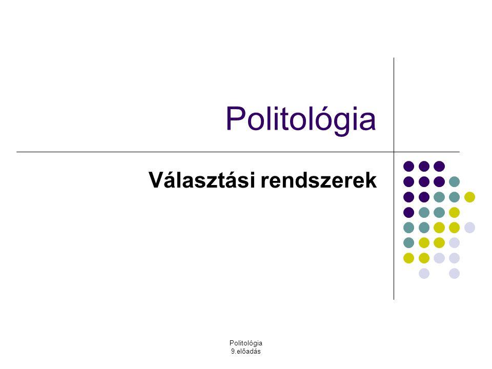 Politológia 9.előadás Politológia Választási rendszerek