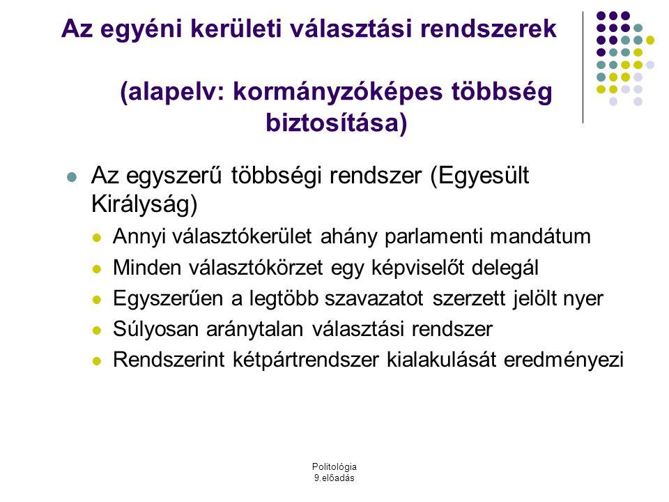Politológia 9.előadás Az egyéni kerületi választási rendszerek (alapelv: kormányzóképes többség biztosítása) Az egyszerű többségi rendszer (Egyesült K
