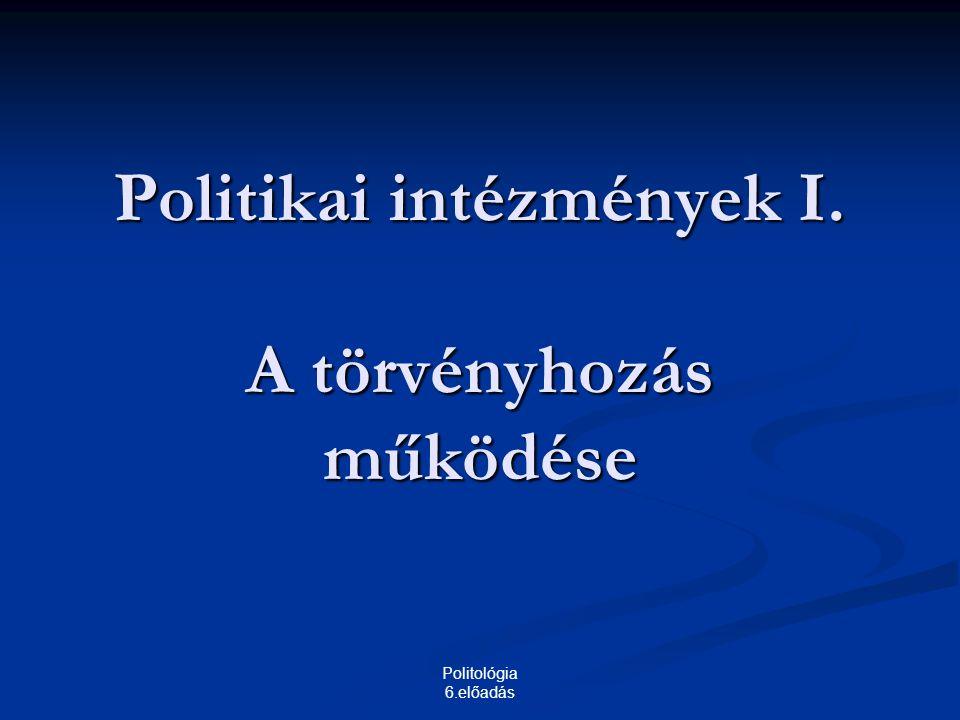 Politológia 6.előadás Politikai intézmények I. A törvényhozás működése