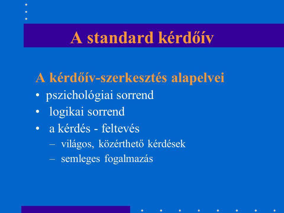 A standard kérdőív A kérdőív-szerkesztés alapelvei pszichológiai sorrend logikai sorrend a kérdés - feltevés – világos, közérthető kérdések – semleges
