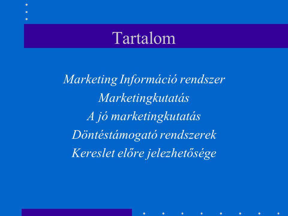 Tartalom Marketing Információ rendszer Marketingkutatás A jó marketingkutatás Döntéstámogató rendszerek Kereslet előre jelezhetősége
