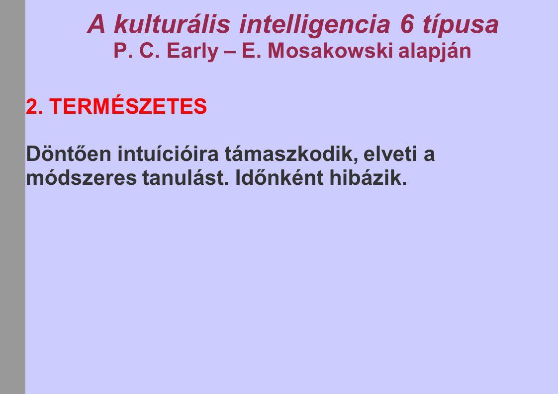 A kulturális intelligencia 6 típusa P. C. Early – E. Mosakowski alapján 2. TERMÉSZETES Döntően intuícióira támaszkodik, elveti a módszeres tanulást. I