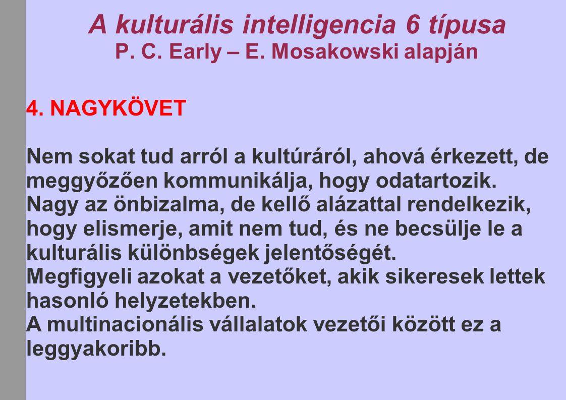 A kulturális intelligencia 6 típusa P. C. Early – E. Mosakowski alapján 4. NAGYKÖVET Nem sokat tud arról a kultúráról, ahová érkezett, de meggyőzően k