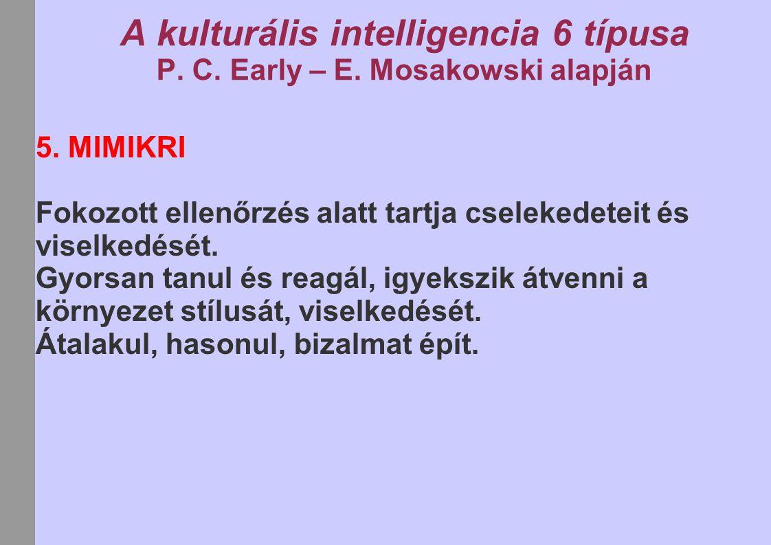 A kulturális intelligencia 6 típusa P. C. Early – E. Mosakowski alapján 5. MIMIKRI Fokozott ellenőrzés alatt tartja cselekedeteit és viselkedését. Gyo