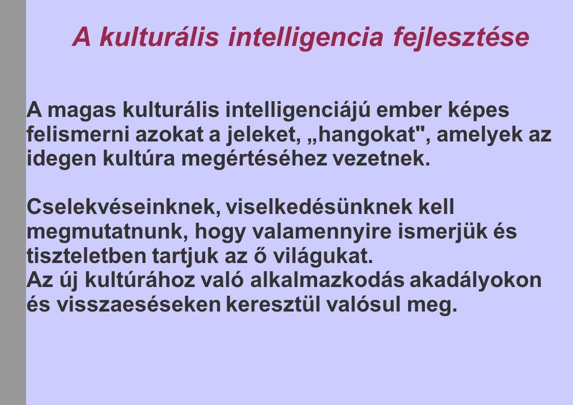 """A kulturális intelligencia fejlesztése A magas kulturális intelligenciájú ember képes felismerni azokat a jeleket, """"hangokat"""