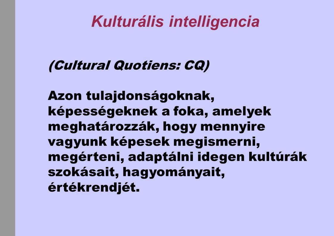 Kulturális intelligencia A magas kulturális intelligenciájú személy fel tudja ismerni azokat a tulajdonságokat, amelyek: - a csoport - az egyes emberek viselkedését jellemzik, mozgatják.