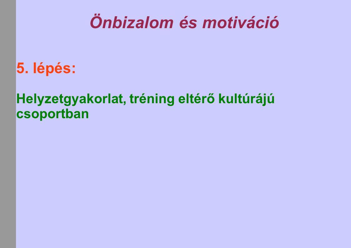 Önbizalom és motiváció 5. lépés: Helyzetgyakorlat, tréning eltérő kultúrájú csoportban